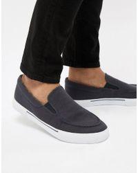 Sneakers blu navy senza lacci con interno a fiori di ASOS in Blue da Uomo