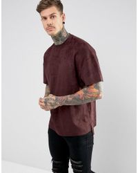 Religion Red T-shirt In Faux Suede With Step Hem for men