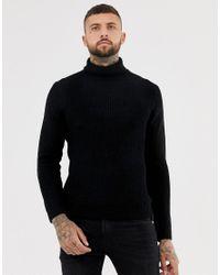 Bershka - Knitted Roll Neck Sweater In Black for Men - Lyst