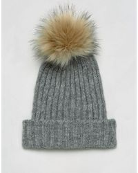 Pieces - Gray Pom Beanie In Light Grey - Lyst