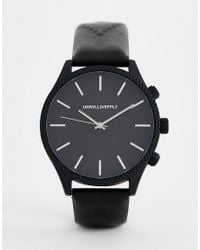 ASOS Watch With Embossed Strap In Black for men