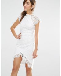 Boohoo - Multicolor Boutique Eyelash Lace Bodycon Dress - Lyst