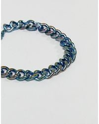ASOS - Blue Chunky Chain Bracelet In Iridescent Finish for Men - Lyst