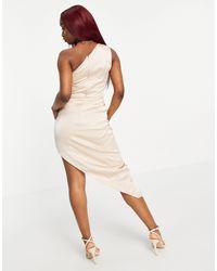 Асимметричное Платье Макси На Одно Плечо Цвета Шампанского С Драпировкой -золотистый Lavish Alice, цвет: Metallic