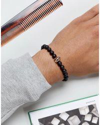 Seven London | Black & Gold Beaded Bracelet for Men | Lyst