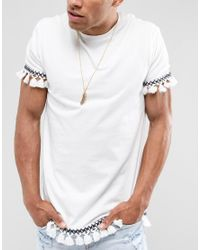 ASOS - Metallic Design Feather Necklace In Gold for Men - Lyst