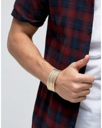 ASOS Metallic Plaited Bangle In Gold for men
