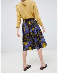 SELECTED - Blue Selecetd Sonja Floral Midi Skirt - Lyst