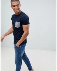 French Connection Blue Gingham Pocket T-shirt for men