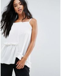 ASOS - Multicolor Cami In Crepe With Square Neck Asymmetric Ruffles - Lyst