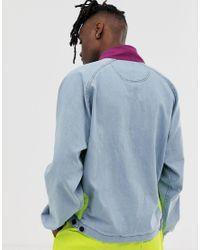 Fila Blue Doug 1/2 Denim Overhead Jacket With Front Pocket for men