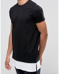 ASOS Super Longline T-shirt With Offset Shoulder Seam And Rib Hem Extender In Black for men