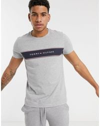 Tommy Hilfiger Gray Logo Chest Insert Stripe T-shirt for men