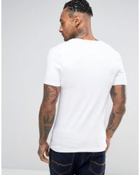 ASOS White Asos Extreme Muscle Fit T-shirt With Deep V Neck And Stretch for men