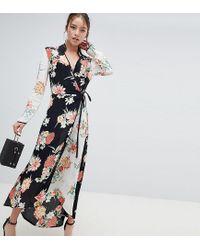Vestito lungo a portafoglio con stampa mista a fiori di Miss Selfridge in Multicolor