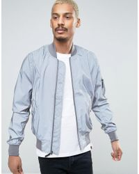 Alpha Industries Metallic Ma1 Reflective Bomber Jacket In Silver for men