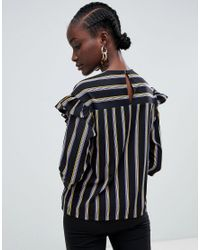 SELECTED - Black Eda Flounce Stripe Top - Lyst