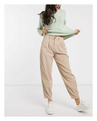 Pantalon super ample en velours côtelé Stradivarius en coloris Natural