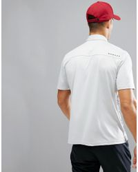 Oakley - Gray Golf High Crest Polo Varied Stripe Regular Fit In Grey/red for Men - Lyst