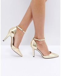 True Decadence - Metallic Strap Point Gold Heeled Shoes - Lyst