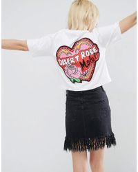 ASOS - Blue T-shirt With Motel Rose Print - Lyst