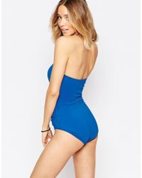Echo - Blue Rouched Bandeau Swimsuit - Lyst