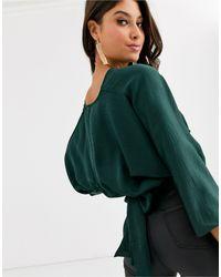 Top escotado con mangas estilo kimono ASOS de color Green