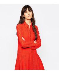 ASOS - Orange Le Kilt For Zip Pleat Dress With Collar - Lyst