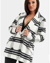 ASOS DESIGN Petite - Manteau croisé à carreaux ASOS en coloris Multicolor