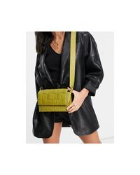 TOPSHOP Green Mixed Weave Crossbody Bag