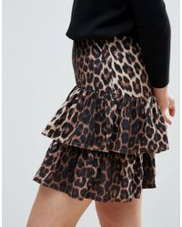 Ichi - Black Tiered Leopard Print Skirt - Lyst