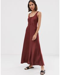 Whistles Red Pippa Satin Slip Dress