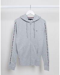 Tommy Hilfiger Gray Authentic Taping Lounge Hoodie for men
