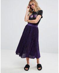 Monki Purple Pleated Midi Skirt