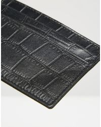 ASOS Leather Card Holder In Black With Crocodile Emboss for men
