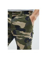 D-Struct Green Turn Up Camo Print Chino Shorts for men