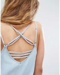 RVCA - Blue Cami Dress With Harness Strapping - Lyst