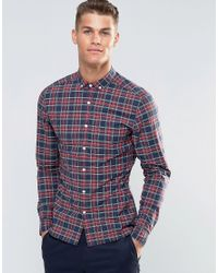 ASOS Blue Skinny Shirt With Tartan Check In Long Sleeve for men