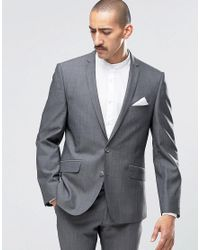 Ben Sherman Gray Camden Super Skinny Charcoal Tonic Suit Jacket for men