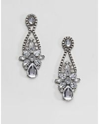 True Decadence - Metallic Pewter Stone Statement Earrings (+) - Lyst
