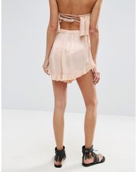 ASOS Pink Flutter Beach Short With Frill Two-piece