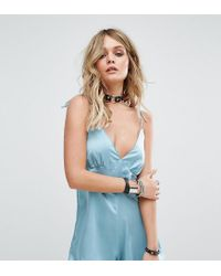 Motel - Blue Luxe Cami Playsuit In Satin - Lyst
