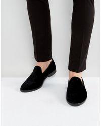 House Of Hounds Anton Embossed Velvet Loafers In Black for men