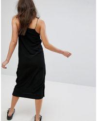 Monki Black Side Popper Slip Dress