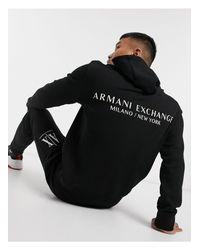 Черный Махровый Худи С Принтом На Спине Armani Exchange для него, цвет: Black