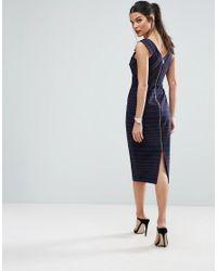 ASOS - Blue V Front V Back Pencil Dress In Stripe - Lyst