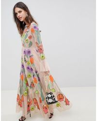 ASOS - Natural Embroidered Floral Maxi Dress - Lyst