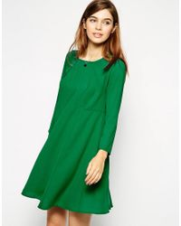 ASOS Green Asos Woven Full Swing Dress With Seam Detail And Long Sleeves