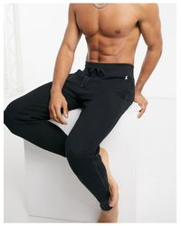 Черные Джоггеры Из Вафельной Ткани С Логотипом -черный Polo Ralph Lauren для него, цвет: Black