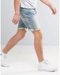 ASOS - Denim Shorts In Stretch Slim 12.5oz Light Wash Vintage Blue for Men - Lyst